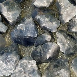 Bunch of blue calcite medium pieces